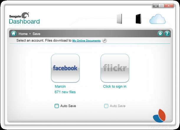 Seagate Dashboard backup facebook
