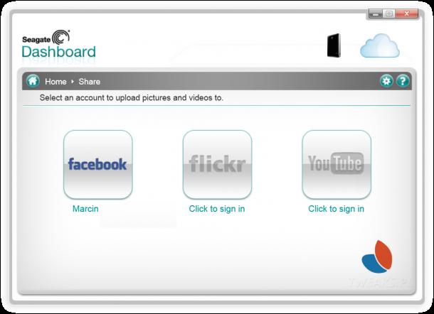Seagate Dashboard  media społecznościowe
