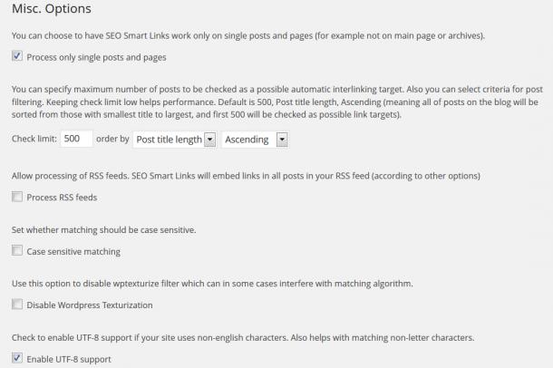 SEO smart links dodatkowe opcje