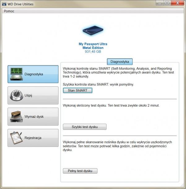 WD Drive Utilities diagnostyka dysku SMART