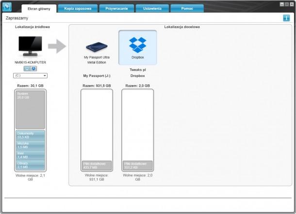 WD SmartWare tworzenie kopii zapasowej w chmurze