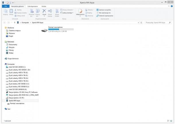 Sony Xperia M4 Aqua - miejsce w pamięci na komputerze