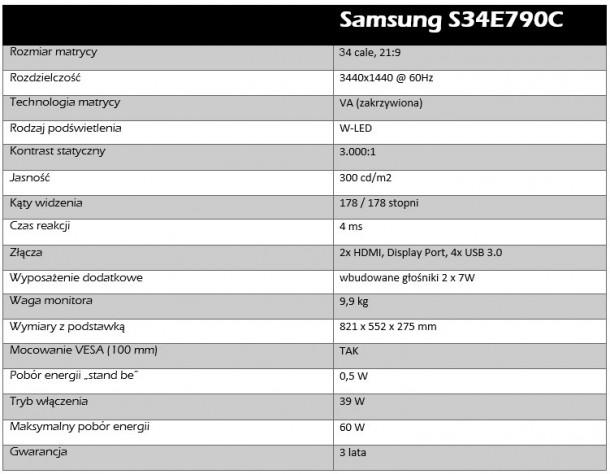 samsung s34e790c specyfikacja techniczna