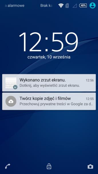 sony xperia m4 nakładka android - zegar