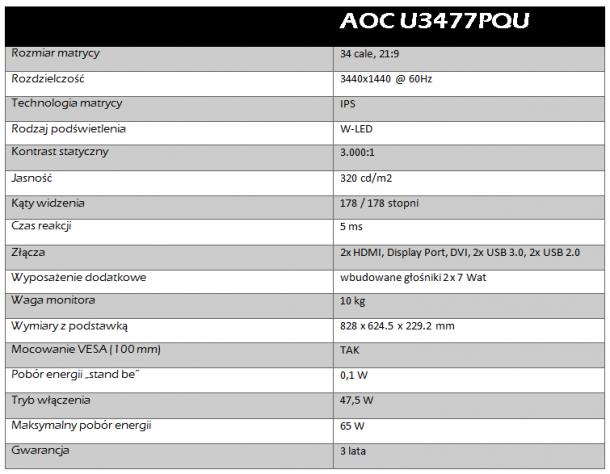 aoc u3477pqu dane techniczne2