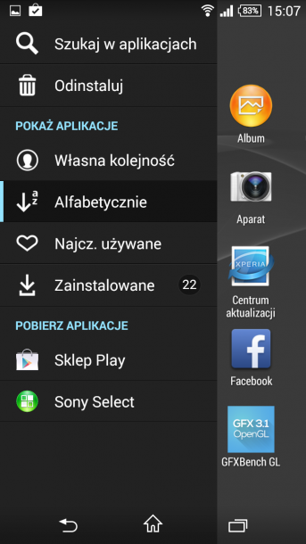 xperia z3 compact menu android 6