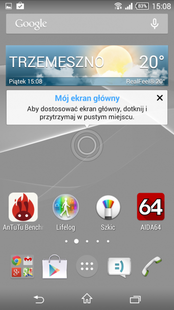 xperia z3 compact menu główne android