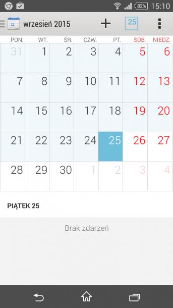 xperia z3 compact menu kalendarz