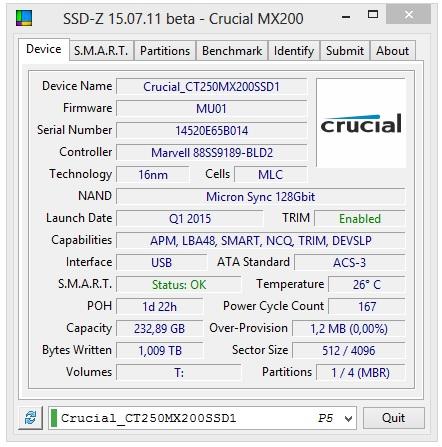 Crucial MX200 250GB specyfikacja techniczna