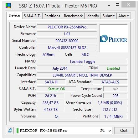 Plextor M6 PRO 256GB specyfikacja techniczna