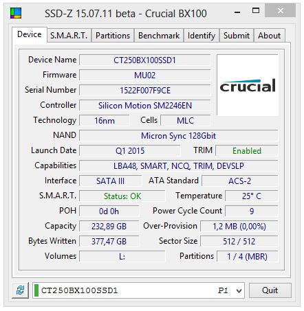 crucial bx100 250gb ssd-z