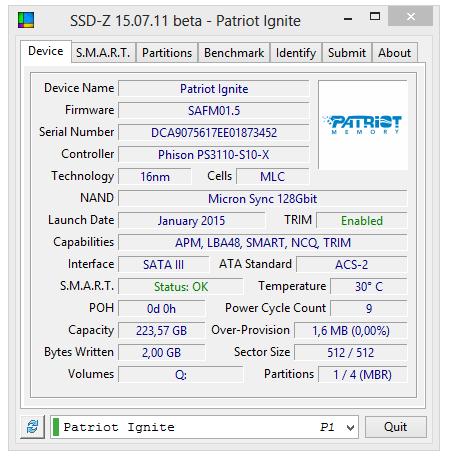patriot ignite 240gb SSD