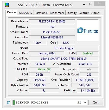 plextor m6s 128gb specyfikacja techniczna