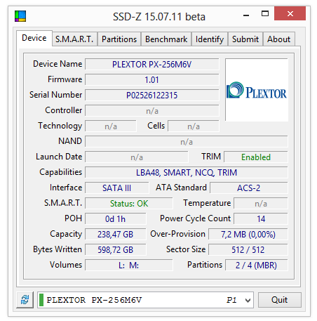 plextor m6v 256gb ssd-z parametry