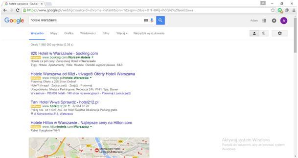 rozmieszczenie reklam Google po aktualizacji Adwords