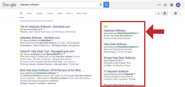 rozmieszczenie reklam Google przed aktualizacją Adwords