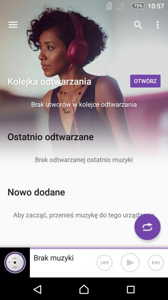 Sony - aplikacja 'muzyka'