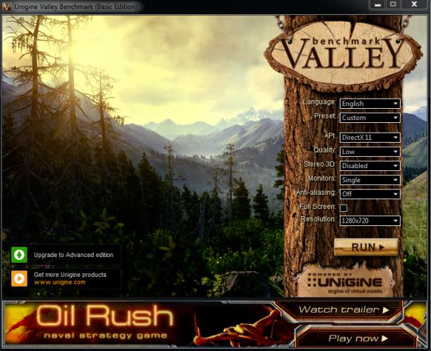 unigine valley 1.0 - ustawienia