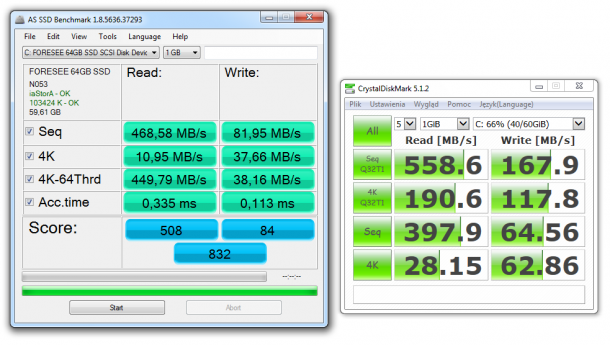 zotac zbox ci321 nano plus - test ssd forese 64gb