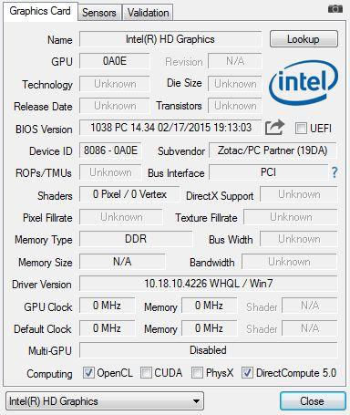 zotac zbox ci321 nano plus - GPU