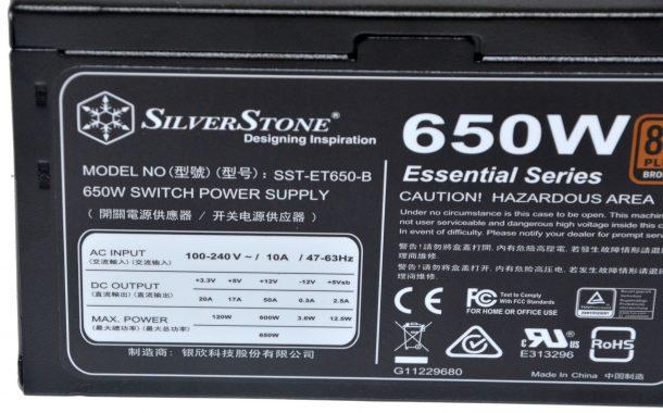SilverStone ET650-B tabliczka znamionowa