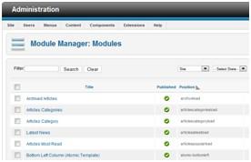 moduły Joomla, zarządzanie modułami Joomla