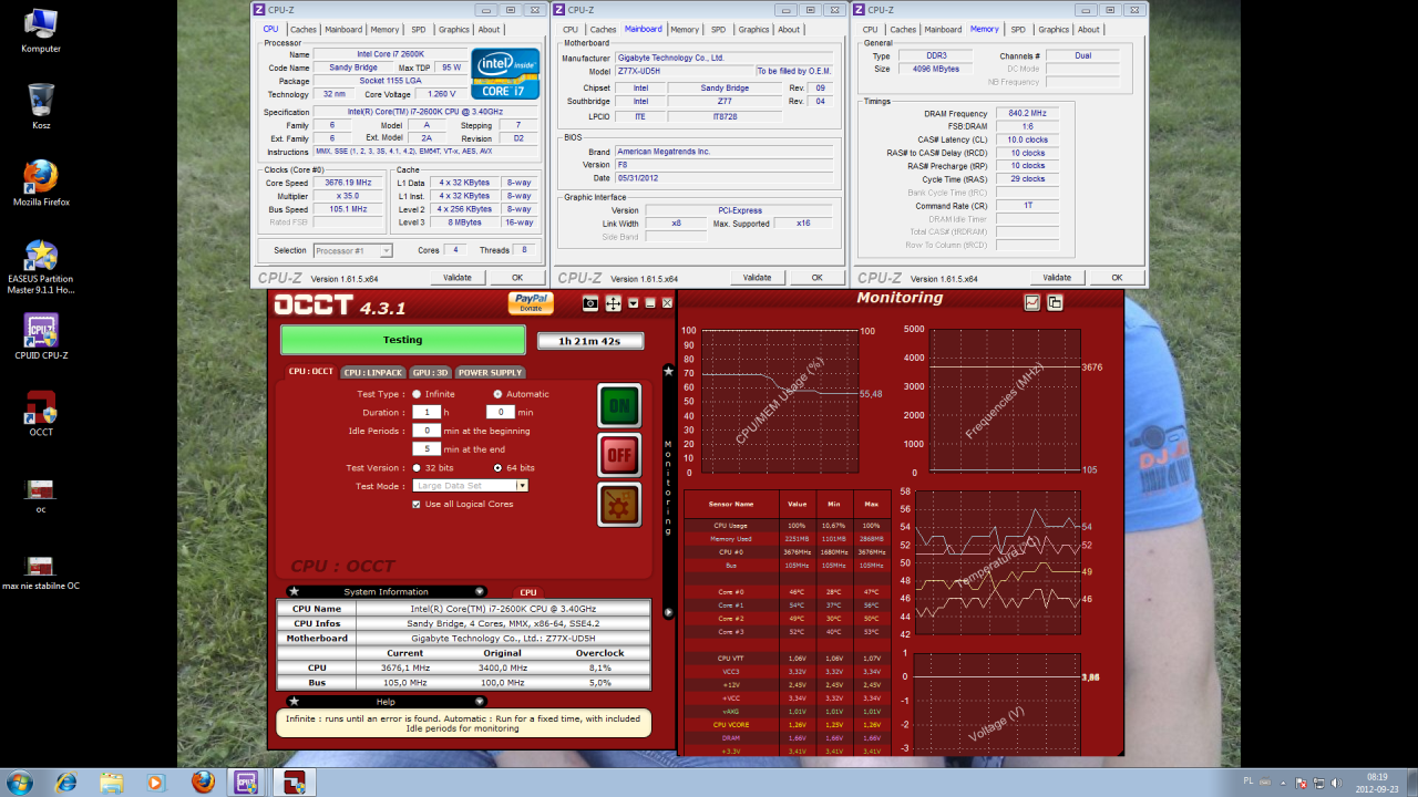 Overclocking Gigabyte Z77X-UD5H-WB WIFI, oVerclocking Intel I7 2600k