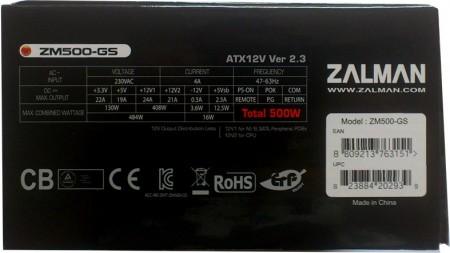 Zalman ZM500-GS tablica znamionowa