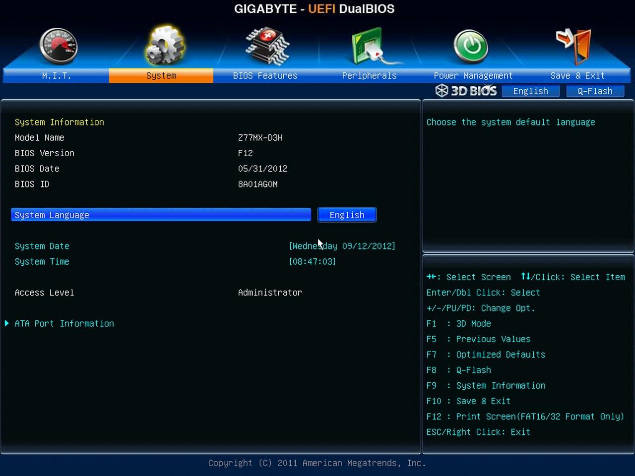 Gigabyte Z77X-UD5H-WB WIFI, BIOS UEFI, System