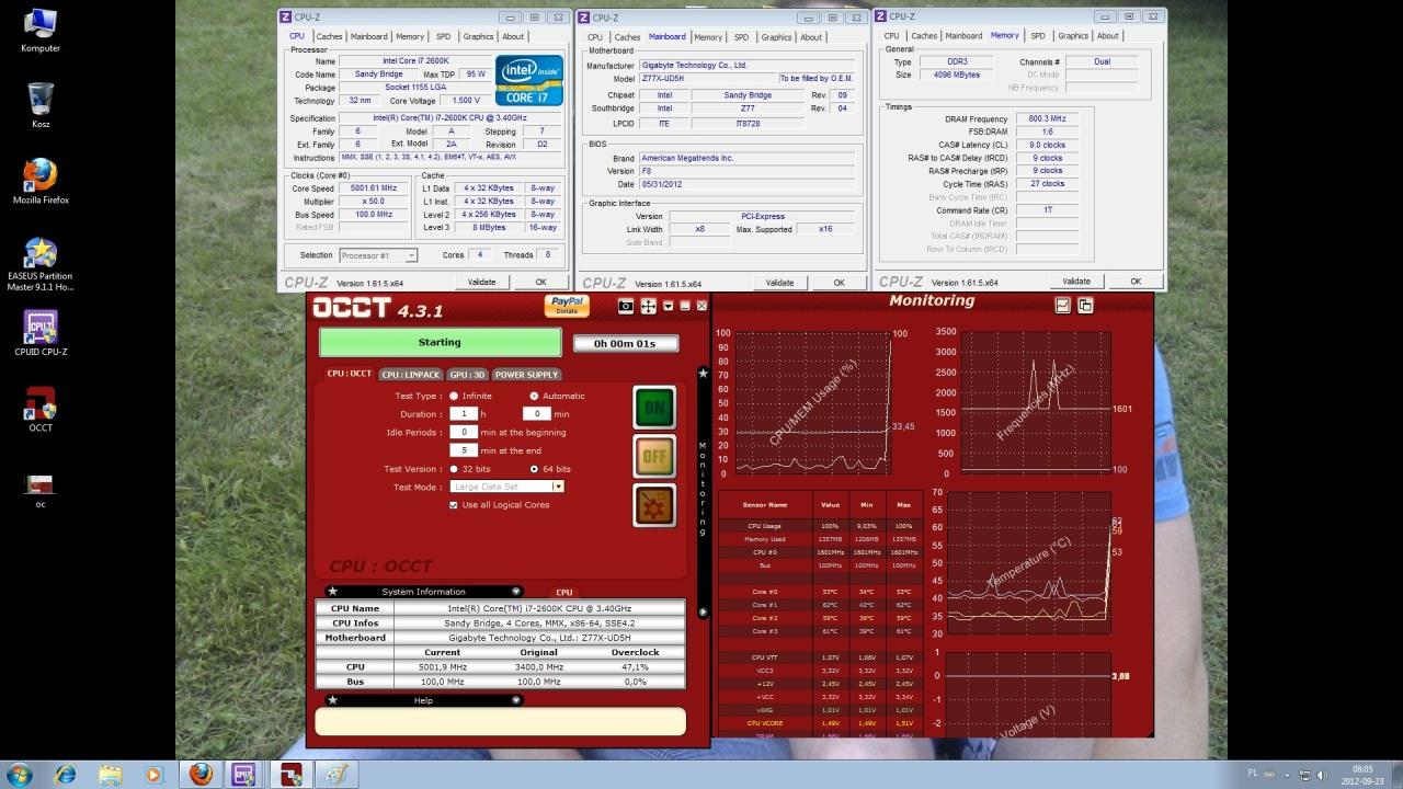 Overclocking Gigabyte Z77X-UD5H-WB WIFI, overclocking Intel I7 2600k 5000Mhz