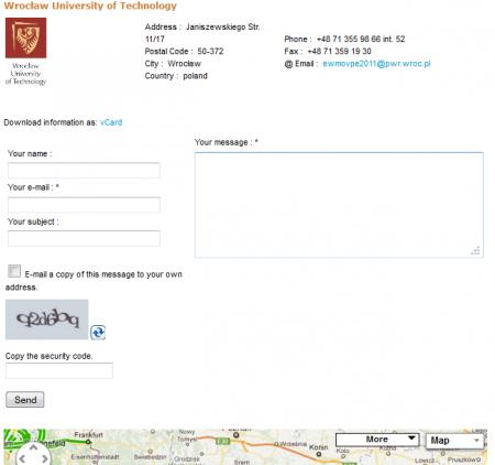 strona kontaktowa Joomla, komponent Joomla kontakt, mapa dojazdu Joomla