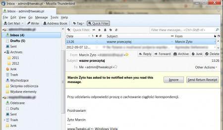 Potwierdzenie wysłania wiadomości e-mail Thundebird