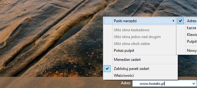 klasyczny pasek adresów Windows 8