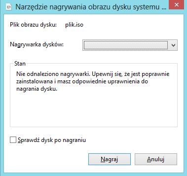 nagrywanie płyty CD DVD z pliku ISO Windows 8