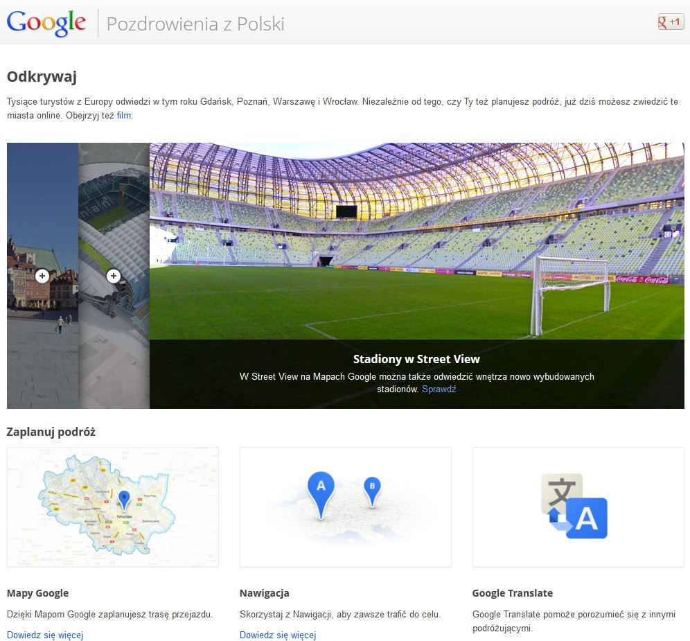 Euro 2012, Google polska, Google, mistrzostwa Euro, strona Euro, informacje Euro